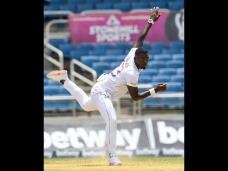 West Indies pacer Jayden Seales in action against Pakistan on day three of their second Test match, at Sabina Park in Kingston yesterday.