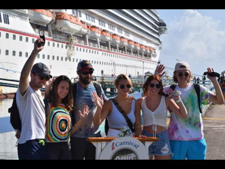 This group was among the first to disembark the Carnival Sunrise.