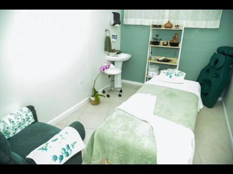 The spa is complete with furniture and a special pregnancy massage cushion and headrest for expectant mothers.