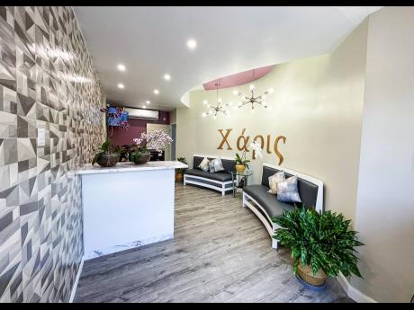 The lobby of the Charis Women's Wellness and Maternity Care Centre is spacious and has a modern design.