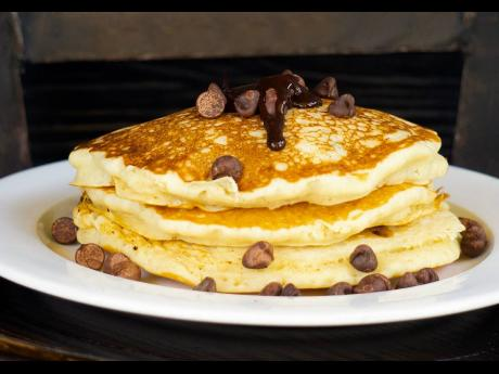 How do you like your pancakes stacked? Mr Breakfast has chocolate chip pancakes that are fluffy and sweetened just right.