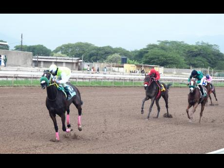 LABYCKA, ridden by Jordan Barrett, wins the CAYMANAS PARK 1959 over a mile at Caymanas Park in St Catherine yesterday.