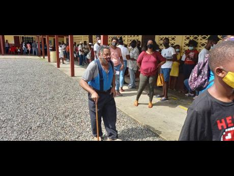This elderly gentleman was among the bumper crowd that turned out at the Port Antonio High School to get inoculated on Tuesday.