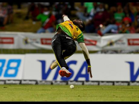 Jamaica Tallawahs' Kirk McKenzie drops a catch to dismiss Sherfane Rutherford of St Kitts and Nevis Patriots during their Hero Caribbean Premier League match at Warner Park in Basseterre, St Kitts and Nevis, on Wednesday night.