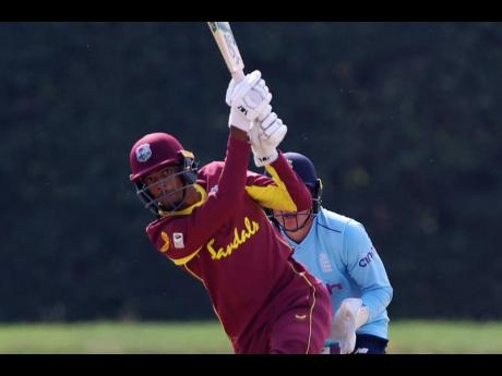 West Indies Under 19 batsman Teddy Bishop plays a shot during his innings of 97 runs against England Under 19 in the second Youth One-Day International cricket match at Kent County Ground yesterday.