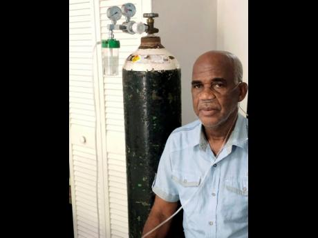 """Earldon Nichols seen here hooked up to an oxygen tank. """"I am just grateful I was able to recover although I have this (diabetes) to deal with now,"""" he said."""