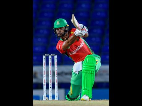 Brandon King of Guyana Amazon Warriors hits a 4 during the 2021 Hero Caribbean Premier League match between Guyana Amazon Warriors and Saint Lucia Kings at Warner Park Sporting Complex on September 8, 2021 in Basseterre, Saint Kitts and Nevis.