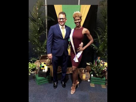 Jamaica's Consul General to Miami, Oliver Mair, at a meet and greet with reigning queen Tatyanna Brown.