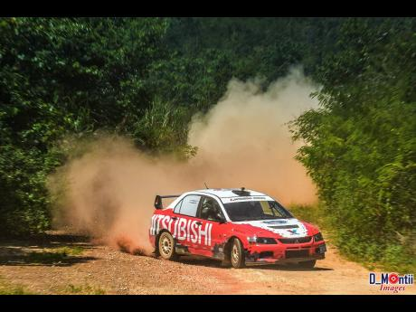 Timothy Stewart leaves a trail of dust on the Lydford rally stage.