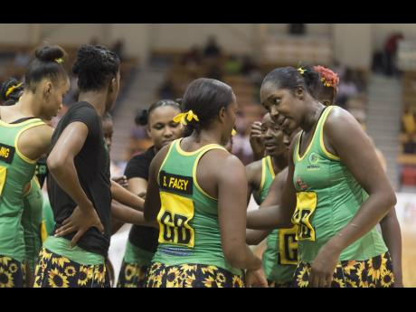 Jamaica's star shooter Jhaniele Fowler (right) makes a point to teammates during a team huddle during the Jamaica vs England series at the National Indoor Sports Centre in Kingston on Saturday October 13, 2018.
