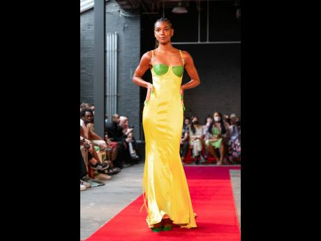 This green and gold body-hugging number was a showstopper.