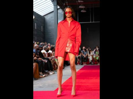 The show featured a mix of models wearing the men's, women's, and unisex pieces.