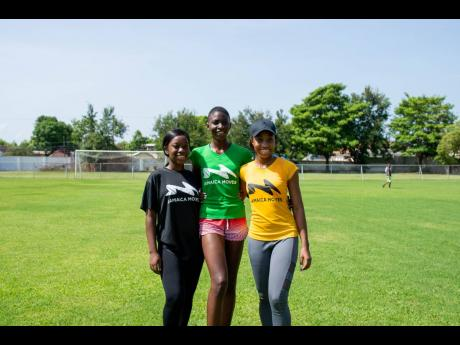 From left: The top three in the Fast Track Fitness Challenge: Kerrion Erskine – Miss Mushroom, Jamela Rookwood – Miss LP Azar and Brithney Clarke – Miss Nationwide News.