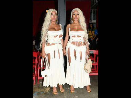 Clermont twins, Shannon and Shannade Clermont, dolled in custom outfits, courtesy of Vvutura.