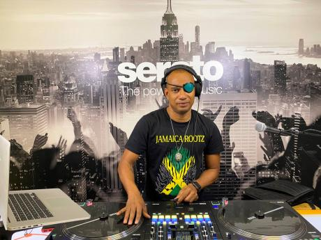 DJ Delano plays at a studio in Brooklyn, New York during his Serato performance.