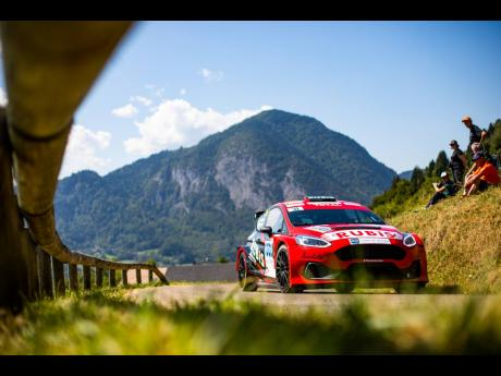 Jeffrey Panton and co-driver Mike Fennell Jr aboard their Ford Fiesta rally car during Rally Mont Blanc in Morzine, France, earlier this month.