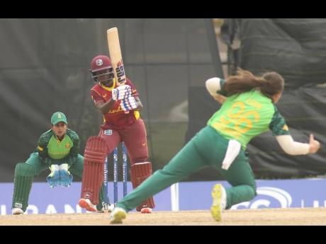 Rashada Williams (centre) of the West Indies Women's team in action against South Africa in the third One Day International at the Coolidge Cricket Ground in St John's, Antigua, on Monday.