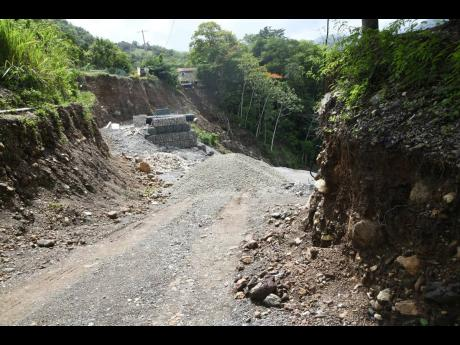 A section of the Trinity Ville main road that was cut off years ago in Mount Lebanus in St Thomas.