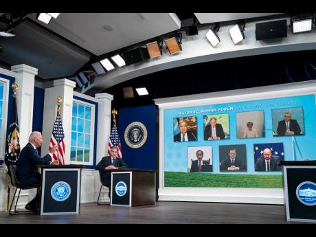 A virtual meeting of leaders from major economies, titled Major Economies Forum on Energy and Climate, hosted by US President Joe Biden, in the South Court Auditorium on the White House campus on Friday