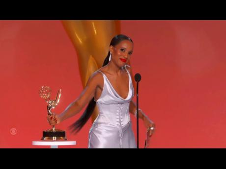 Kerry Washington presents the award for outstanding supporting actor in a drama series during the Primetime Emmy Awards.