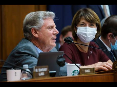 """House Energy and Commerce Chairman Frank Pallone, D-N.J., with Rep Cathy McMorris Rodgers, R-Wash., right, the ranking member, as they continue work on the """"Build Back Better"""" package, cornerstone of President Joe Biden's domestic agenda, at the Capi"""