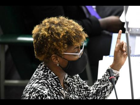 Pamela Monroe Ellis, auditor general, gestures during a sitting of the Public Accounts Committee in Gordon House on Tuesday.