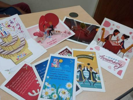 Some of the pop-up cards made by self-taught graphic artist Dareego Gordon.
