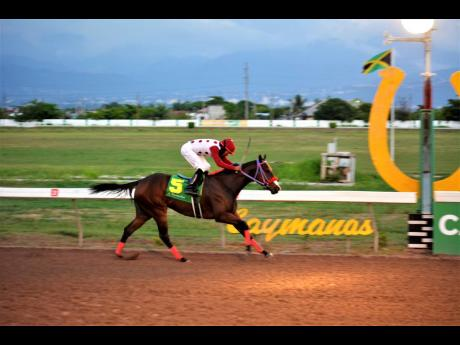 MAKEUPARTIST, ridden by Anthony Thomas, wins the 10th and final race, over six furlongs at Caymanas Park yesterday.