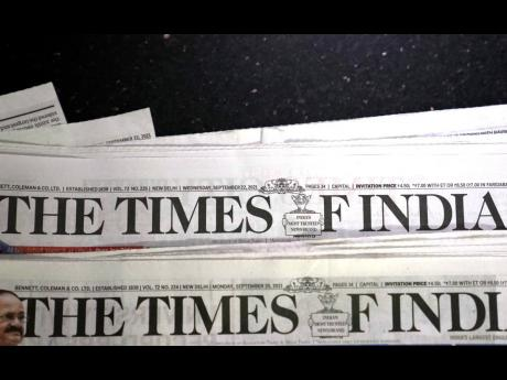 The logo of Bennett, Coleman and Company Limited, an Indian media conglomerate, is seen on The Times of India, one of their newspapers, in New Delhi, India, on Wednesday, September 22. (AP)