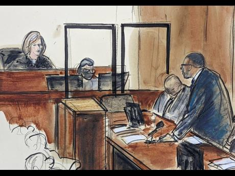 In this illustration drawn from a video feed, R Kelly (right) stands and responds to Judge Ann Donnelly's question of whether or not he has decided to take the stand in his own defence, on Wednesday, in New York.