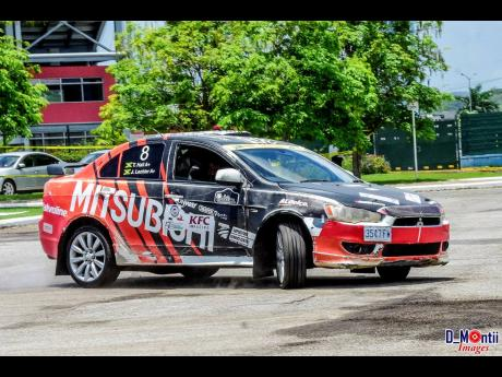 The Stewart's Auto Lancer GT rally car found the going tougher than on a rally course.