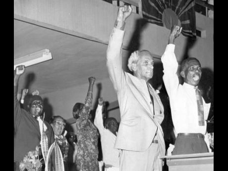 Norman Manley (left) with Clarence Davidson the party's song leader at the party's 30th Annual Conference in 1968 where Manley gave his final presidential address.