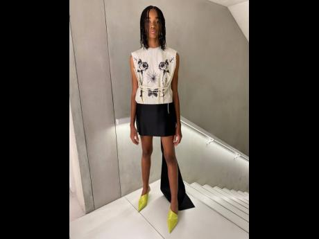 Shantae Leslie rocks her look for Prada, at the show held on Friday in Milan, Italy.