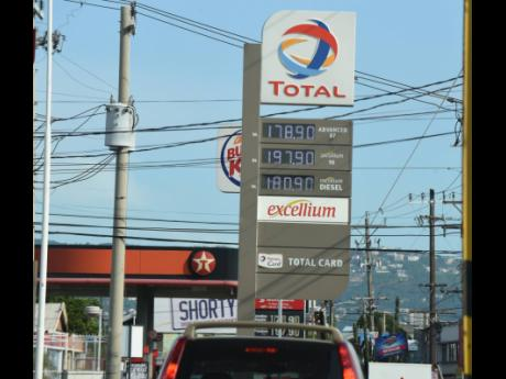 The price board at the Worldtron Total service station in Cross Roads, St Andrew, on the morning of Tuesday, September 14.