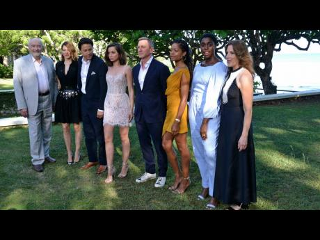 Daniel Craig with cast and production personnel of what was then 'Bond 25', at a press launch at Goldeneye in April 2019. From left are Michael G Wilson (producer), Lea Seydoux, Cary Joji Fukunaga (director), Ana de Armas, Daniel Craig, Naomie Harris,