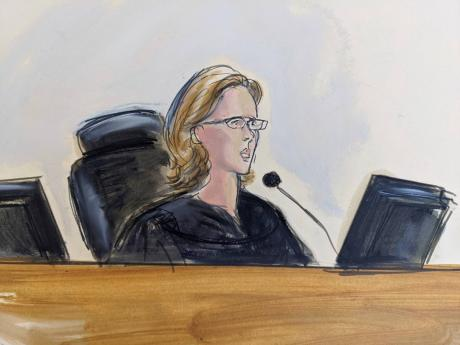 In this courtroom sketch, Judge Ann Donnelly addresses the jury and asks the foreperson for their verdict, on Monday, September 27, 2021, in New York.
