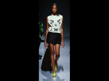 Pulse and Caribbean Model Search star Shantae Leslie rocks the runway for Prada as they presented their Spring/ Summer 2022 collection in Milan, Italy.