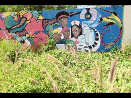 A mural in a neglected section of Rockfort overgrown with shrubs in east Kingston.