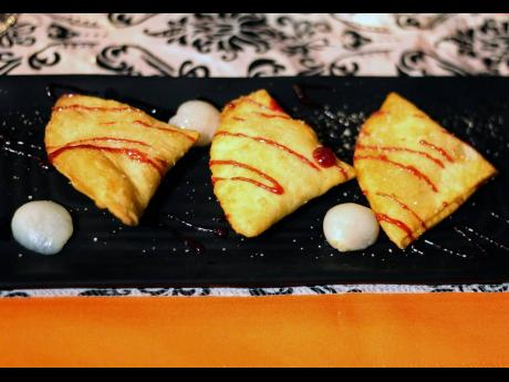 The decadent golden pastry filled with pieces of lychee and a tart cream cheese was a blend of familiar flavours.