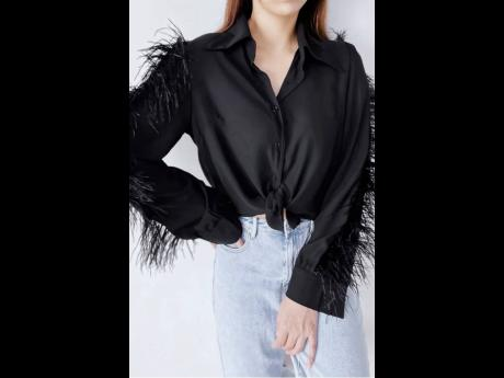 Left: Embellished sleeves are in and this feather embellished shirt fits the bill.