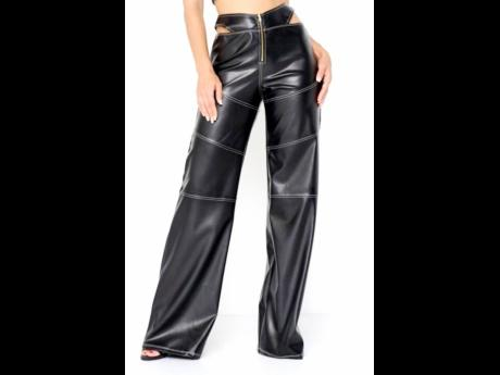 Vegan leather pants with a la mode cutouts, available at DUMBO, BK boutique Glam Expressway.