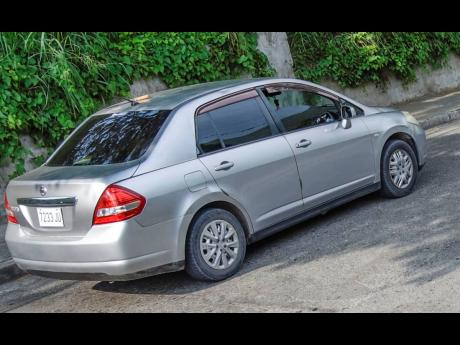 The Nissan Tiida motor car in which Christopher Linton was travelling on Monday before he reportedly engaged the police in a firefight.