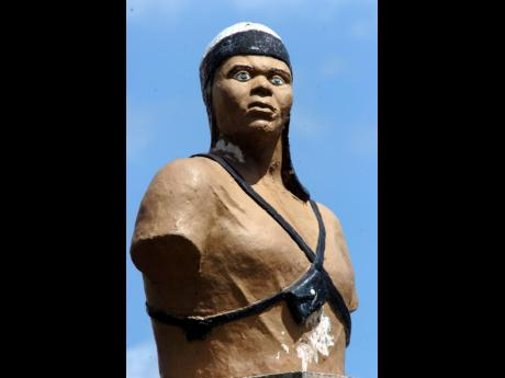 The bust of Maroon warrior Cudjoe, which was is erected in the square in Chapelton.