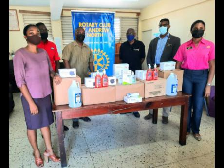 The Rotary Club of St Andrew North recently presented items to assist the Chetolah Mel Nathan Education Centre, Hannah Town, in preparing for the reopening of face-to-face classes. Among the items were sanitisers, alcohol, liquid soap, face masks and therm