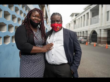Sherine Virgo and her husband Dale Virgo outside the Supreme Court in Kingston.