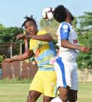 Portmore United's Tevin Shaw (right) clashes with Waterhouse's Stephen Williams during their Red Stripe Premier League game at the Spanish Town Prison Oval on Sunday, November 10, 2019.