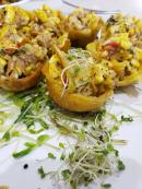Delicious ackee and salt fish plantain cups.