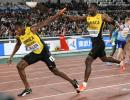 Jamaica's Nathon Allen (left) receives the baton from Rusheen McDonald in the men's 4x400m relay at the World Athletics Relay Championships in Yokohama, Japan on Sunday, May 5, 2019.