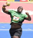 Calabar's Kobe Lawrence on his way to winning the Class One boys Shot Put event at the ISSA/GraceKennedy Boys and Girls' Athletics Championships at the National Stadium yesterday, with a throw of 19.00m.