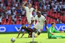 England's Raheem Sterling celebrates after scoring the only goal during the Euro 2020 group D match against Croatia at Wembley Stadium in London, England, yesterday.